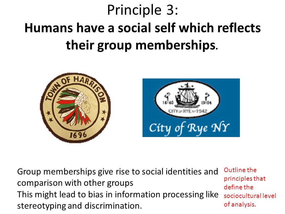 Principle 3: Humans have a social self which reflects their group memberships.