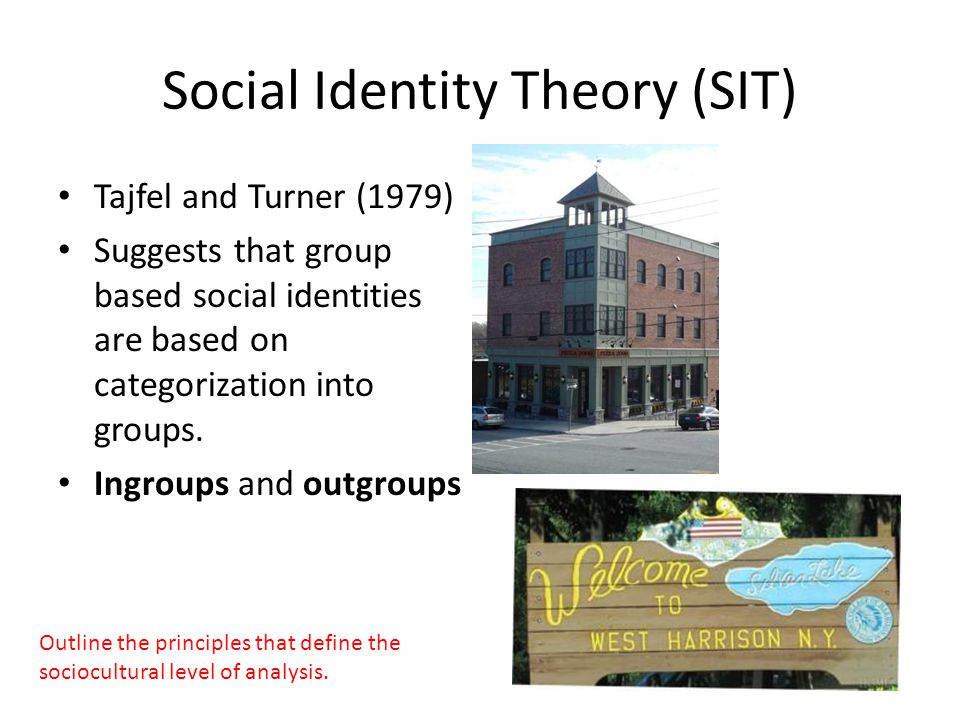 Social Identity Theory (SIT) Tajfel and Turner (1979) Suggests that group based social identities are based on categorization into groups.