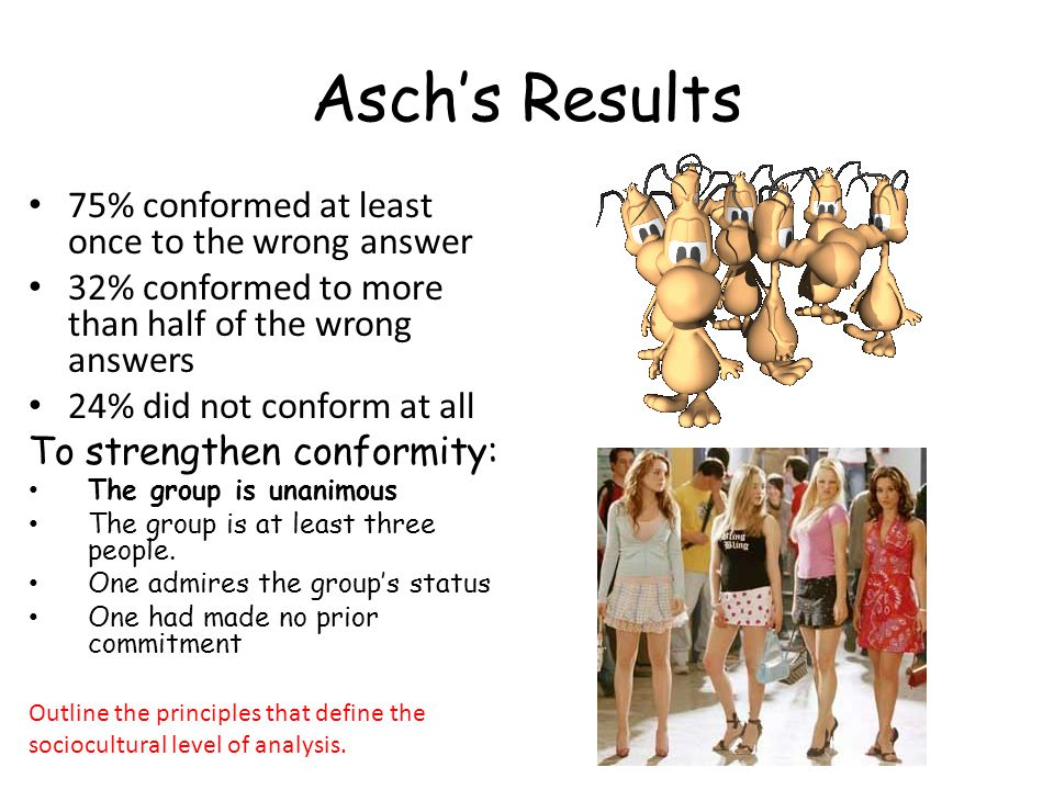 Asch's Results 75% conformed at least once to the wrong answer 32% conformed to more than half of the wrong answers 24% did not conform at all To strengthen conformity: The group is unanimous The group is at least three people.