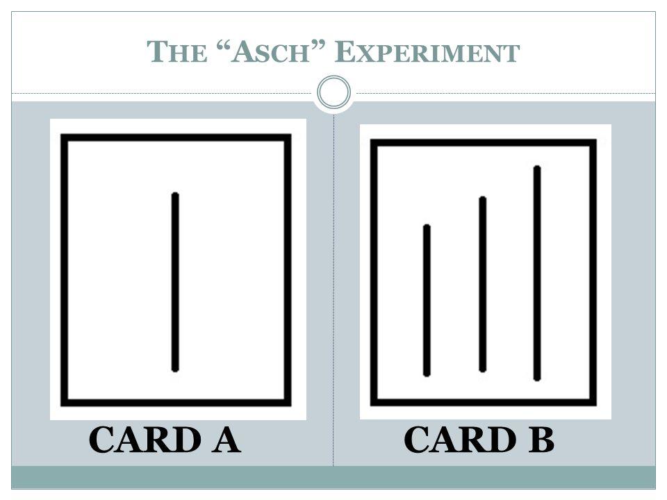T HE A SCH E XPERIMENT CARD ACARD B