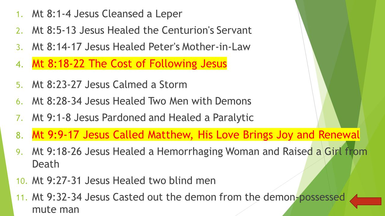 Jesus Casted out the demon from the demon-possessed mute manMt 9:32-34 1.