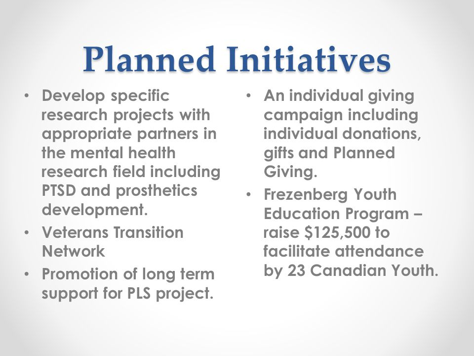 Planned Initiatives An individual giving campaign including individual donations, gifts and Planned Giving.