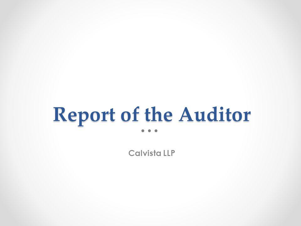 Report of the Auditor Calvista LLP