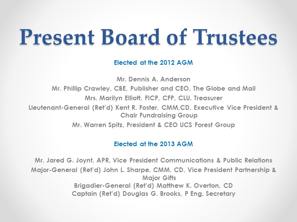 Present Board of Trustees Elected at the 2012 AGM Mr.
