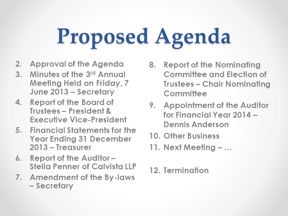 Proposed Agenda 8.