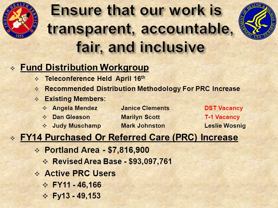  Fund Distribution Workgroup  Teleconference Held April 16 th  Recommended Distribution Methodology For PRC Increase  Existing Members:  Angela MendezJanice ClementsDST Vacancy  Dan GleasonMarilyn ScottT-1 Vacancy  Judy MuschampMark JohnstonLeslie Wosnig  FY14 Purchased Or Referred Care (PRC) Increase  Portland Area - $7,816,900  Revised Area Base - $93,097,761  Active PRC Users  FY11 - 46,166  Fy13 - 49,153