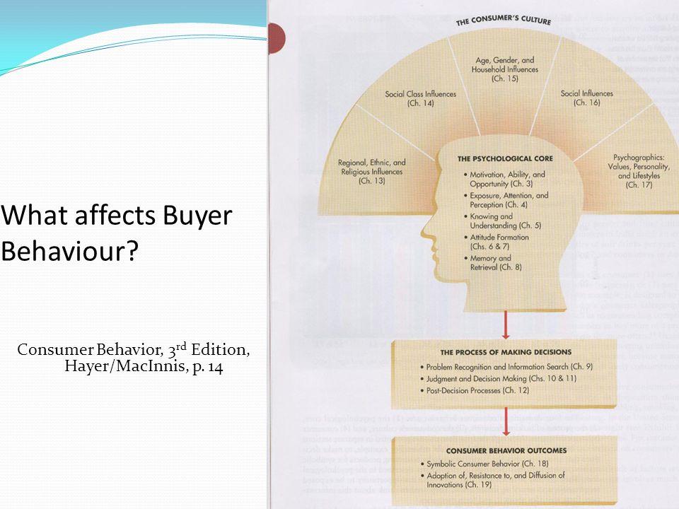 What affects Buyer Behaviour Consumer Behavior, 3 rd Edition, Hayer/MacInnis, p. 14
