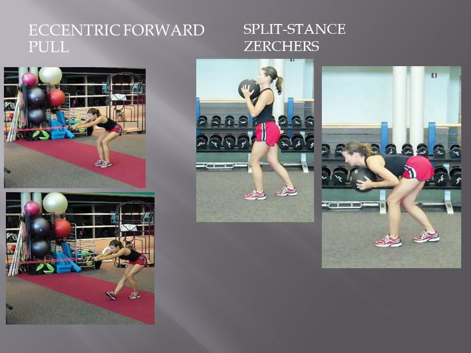 ECCENTRIC FORWARD PULL SPLIT-STANCE ZERCHERS
