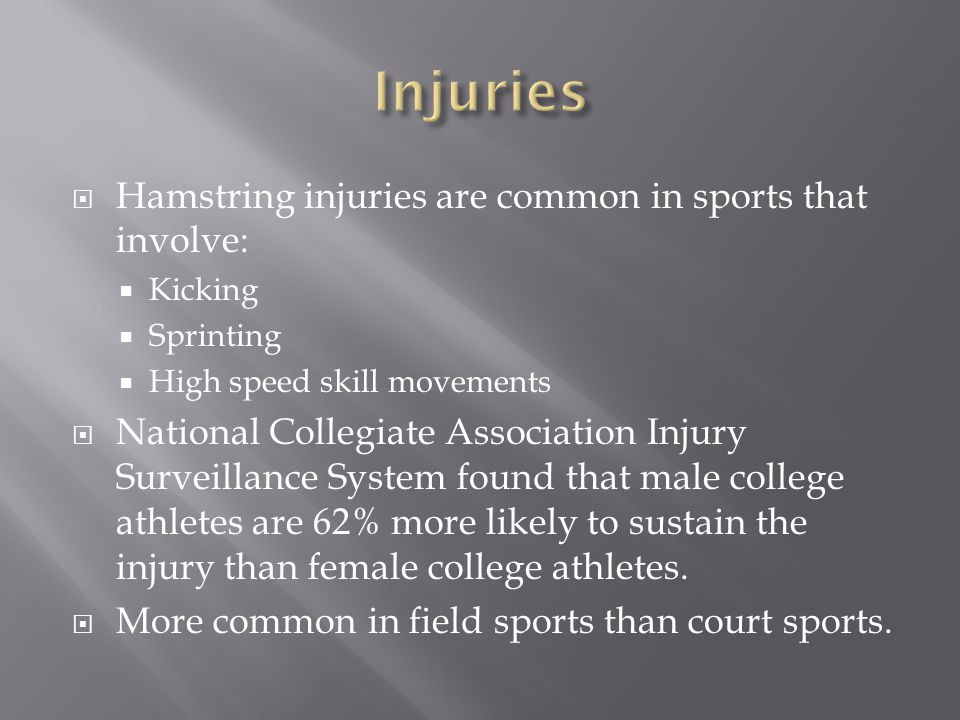  Hamstring injuries are common in sports that involve:  Kicking  Sprinting  High speed skill movements  National Collegiate Association Injury Su