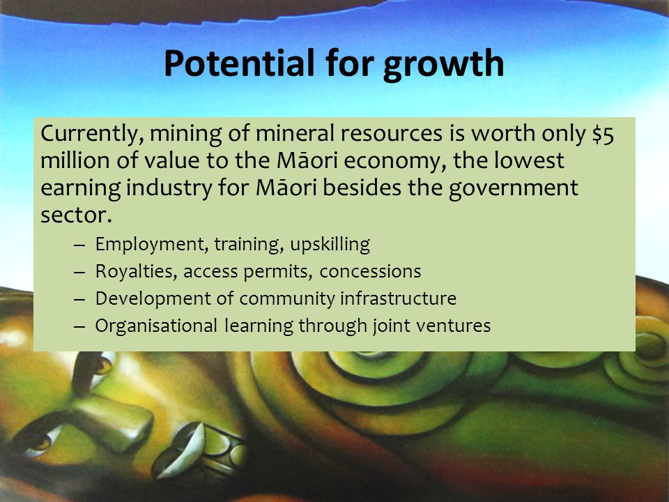 Potential for growth Currently, mining of mineral resources is worth only $5 million of value to the Māori economy, the lowest earning industry for Māori besides the government sector.