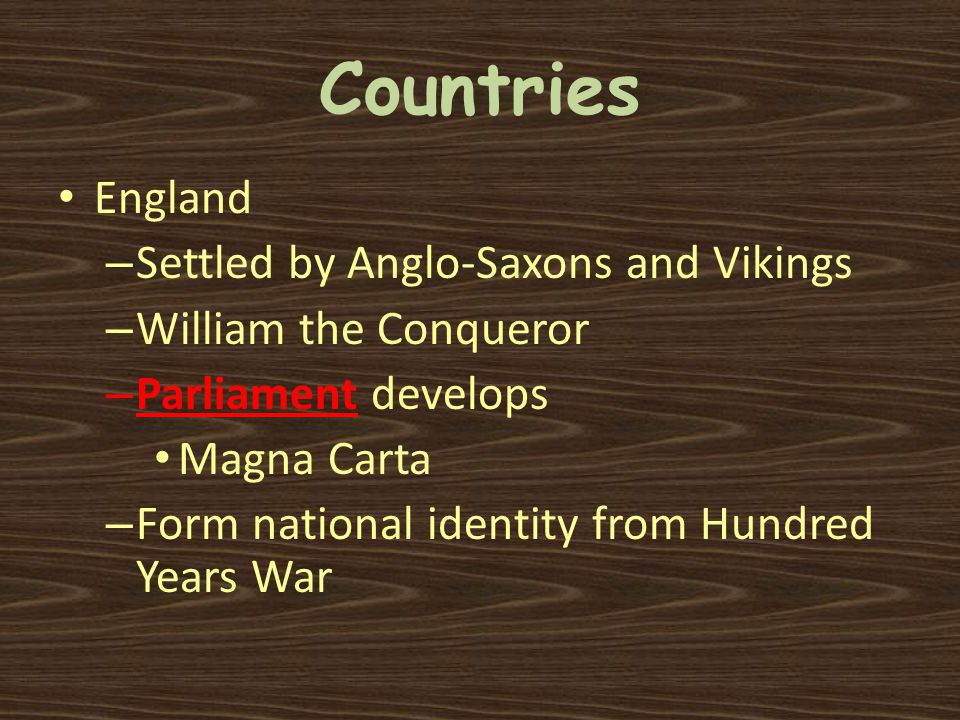 Countries England – Settled by Anglo-Saxons and Vikings – William the Conqueror – Parliament develops Magna Carta – Form national identity from Hundre