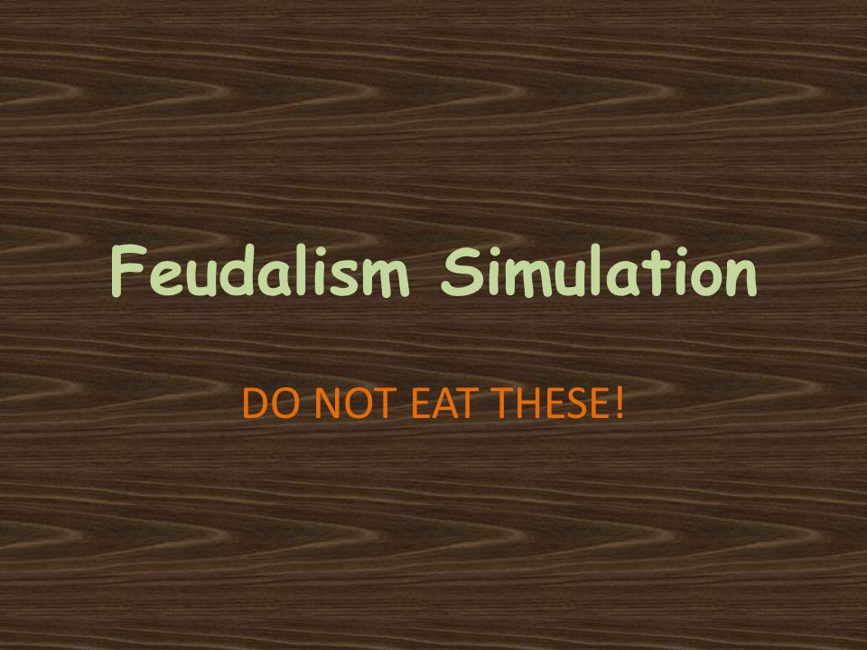 Feudalism Simulation DO NOT EAT THESE!