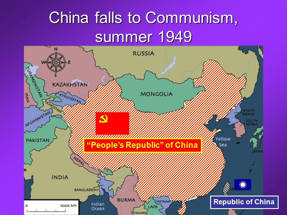 China falls to Communism, summer 1949 Mao Zedong Chiang Kai-shek People's Republic of China Republic of China