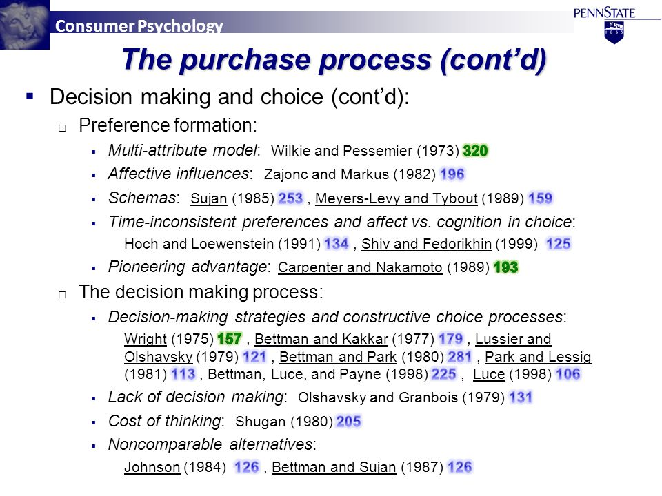 Consumer Psychology The purchase process (cont'd)