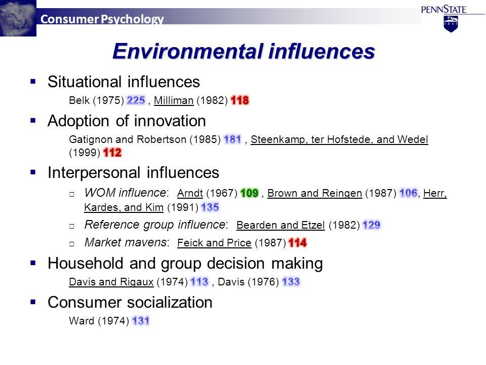 Consumer Psychology Environmental influences