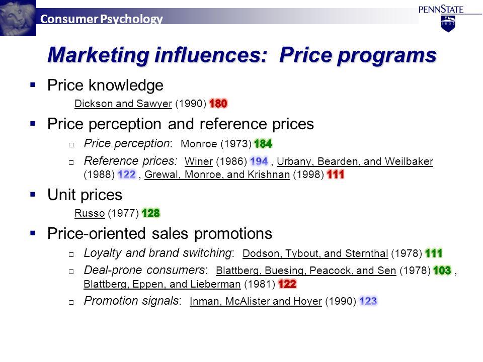 Consumer Psychology Marketing influences: Price programs