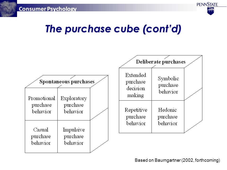 Consumer Psychology The purchase cube (cont'd) Based on Baumgartner (2002, forthcoming)
