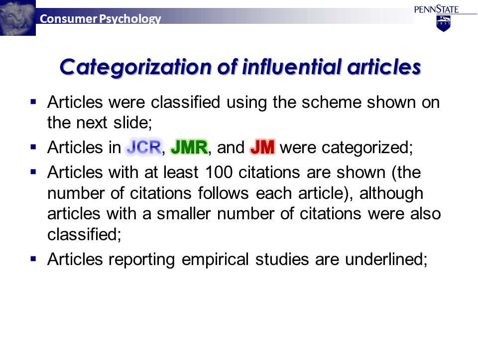 Consumer Psychology Categorization of influential articles
