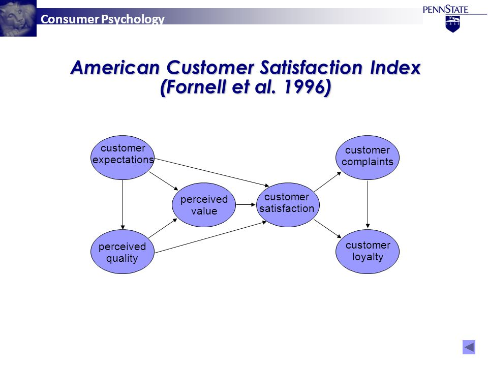 Consumer Psychology perceived quality customer expectations perceived value customer satisfaction customer complaints customer loyalty American Customer Satisfaction Index (Fornell et al.