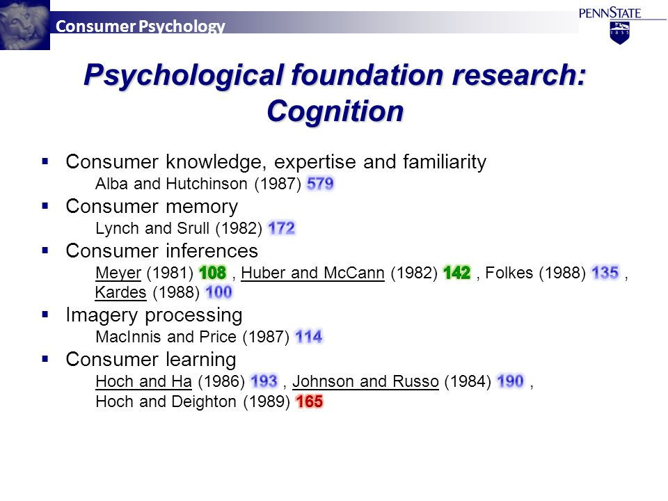 Consumer Psychology Psychological foundation research: Cognition