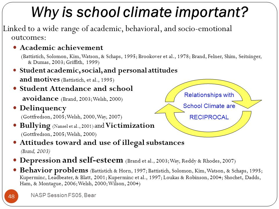 School climate should include the dimensions of demandingness (structure) and responsiveness (support) Found in the Delaware School Climate Surveys See: Bear, Gaskins, Blank, & Chen, in press (Journal of School Psychology) ww.delawarepbs.org NASP Session FS05, Bear 47