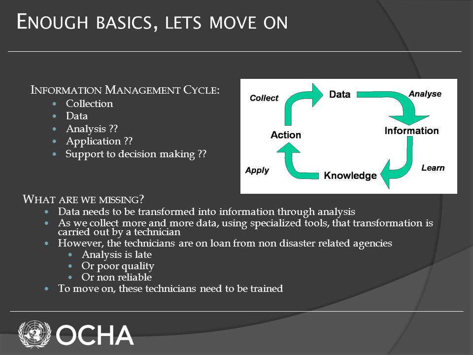 E NOUGH BASICS, LETS MOVE ON I NFORMATION M ANAGEMENT C YCLE : Collection Data Analysis .