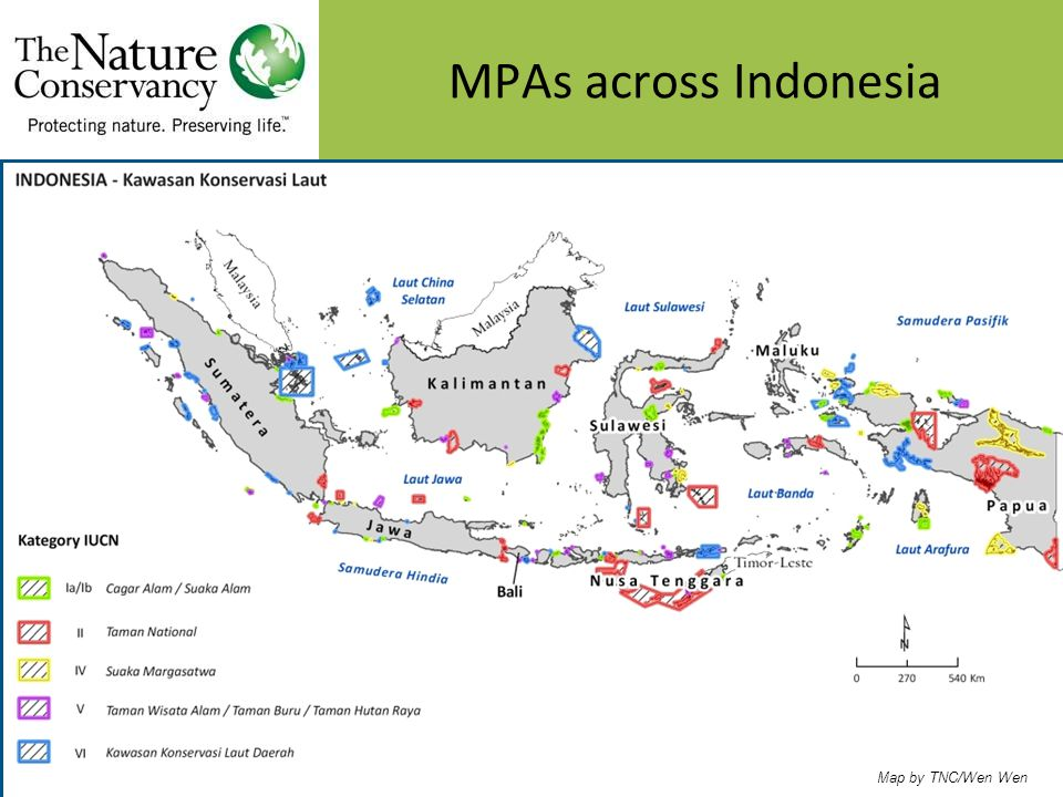 Map by TNC/Wen Wen MPAs across Indonesia
