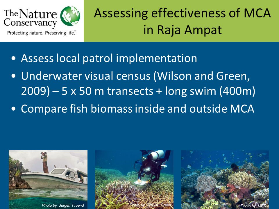 Assessing effectiveness of MCA in Raja Ampat Assess local patrol implementation Underwater visual census (Wilson and Green, 2009) – 5 x 50 m transects + long swim (400m) Compare fish biomass inside and outside MCA Photo by Jurgen Fruend Photo by TNC/A.