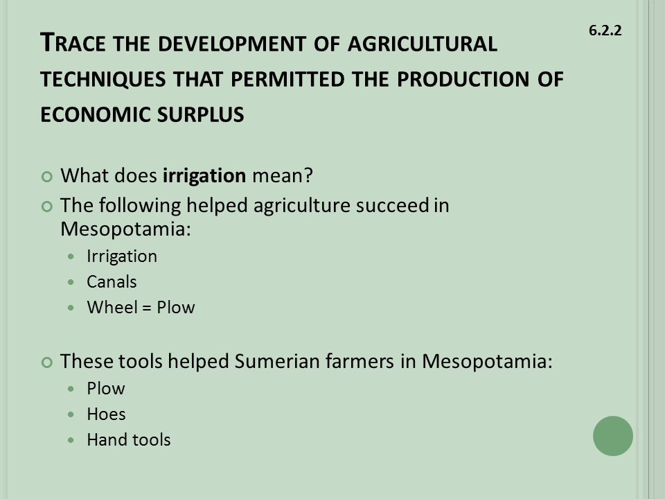 T RACE THE DEVELOPMENT OF AGRICULTURAL TECHNIQUES THAT PERMITTED THE PRODUCTION OF ECONOMIC SURPLUS What does irrigation mean.