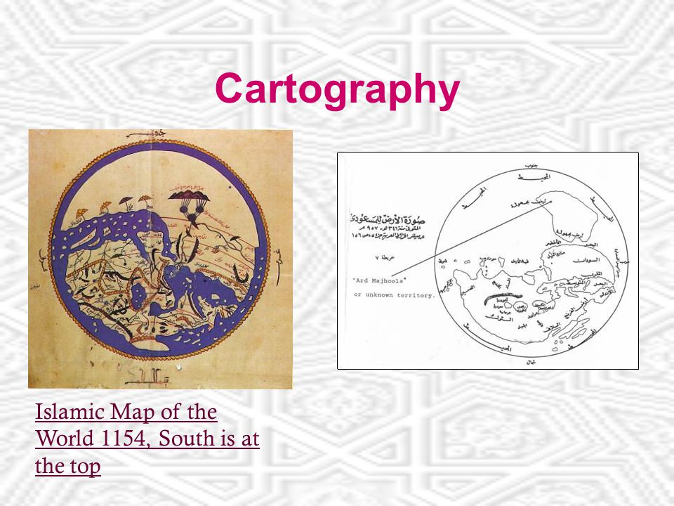 Cartography Islamic Map of the World 1154, South is at the top