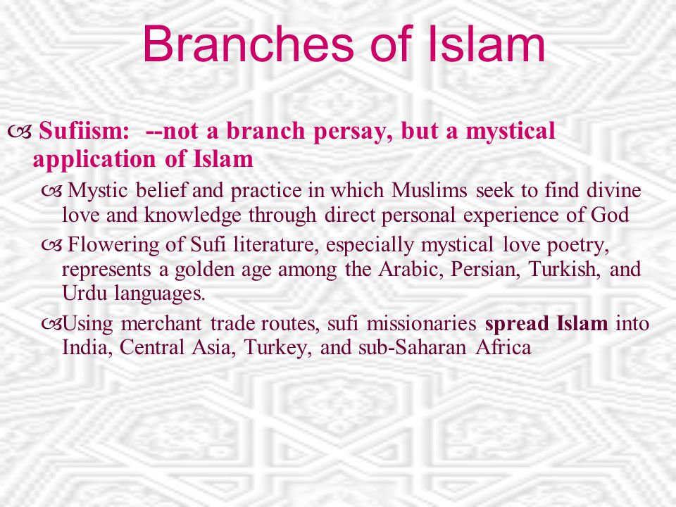 Branches of Islam  Sufiism: --not a branch persay, but a mystical application of Islam  Mystic belief and practice in which Muslims seek to find divine love and knowledge through direct personal experience of God  Flowering of Sufi literature, especially mystical love poetry, represents a golden age among the Arabic, Persian, Turkish, and Urdu languages.