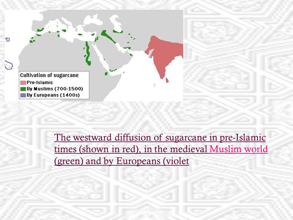 The westward diffusion of sugarcane in pre-Islamic times (shown in red), in the medieval Muslim world (green) and by Europeans (violetMuslim world
