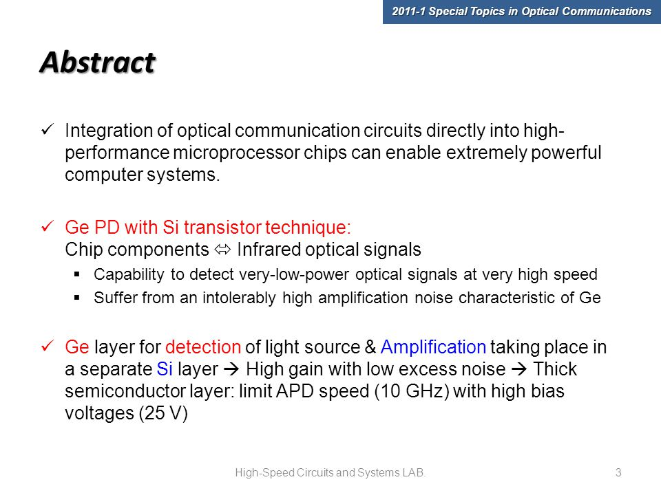 Abstract Integration of optical communication circuits directly into high- performance microprocessor chips can enable extremely powerful computer systems.