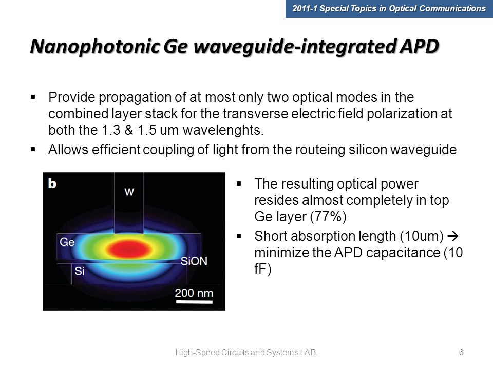 Nanophotonic Ge waveguide-integrated APD  Provide propagation of at most only two optical modes in the combined layer stack for the transverse electric field polarization at both the 1.3 & 1.5 um wavelenghts.
