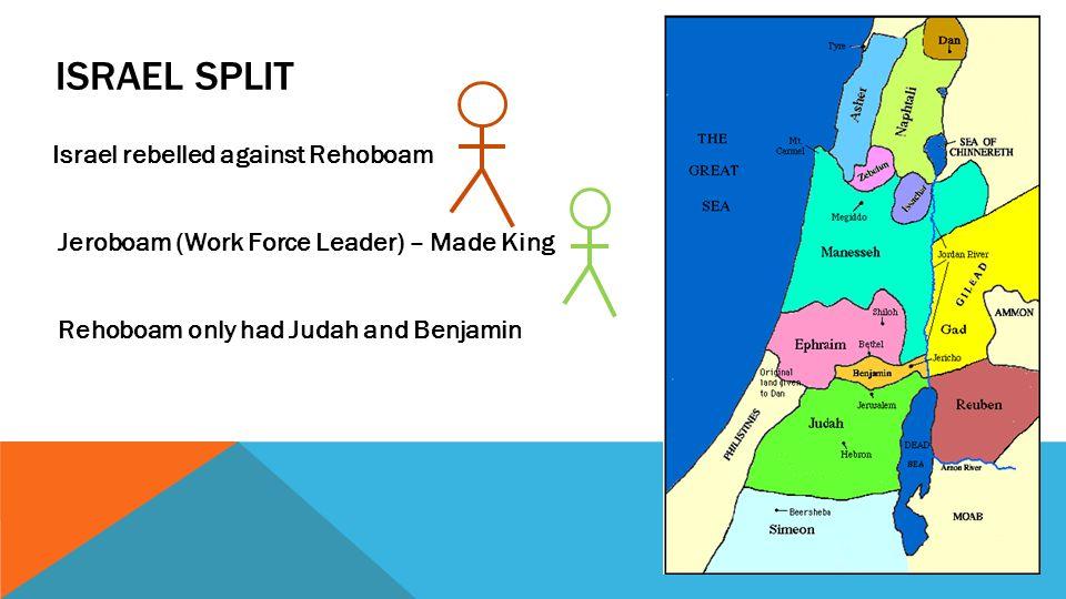 MORE IDOL WORSHIP Jeroboam – Made Golden Calves Bethel-Dan Kept people out of Jerusalem (Rehoboam Land)