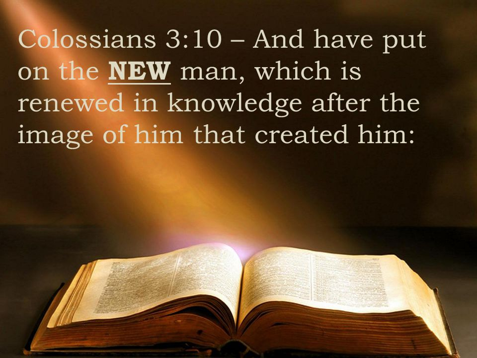 Colossians 3:10 – And have put on the NEW man, which is renewed in knowledge after the image of him that created him: