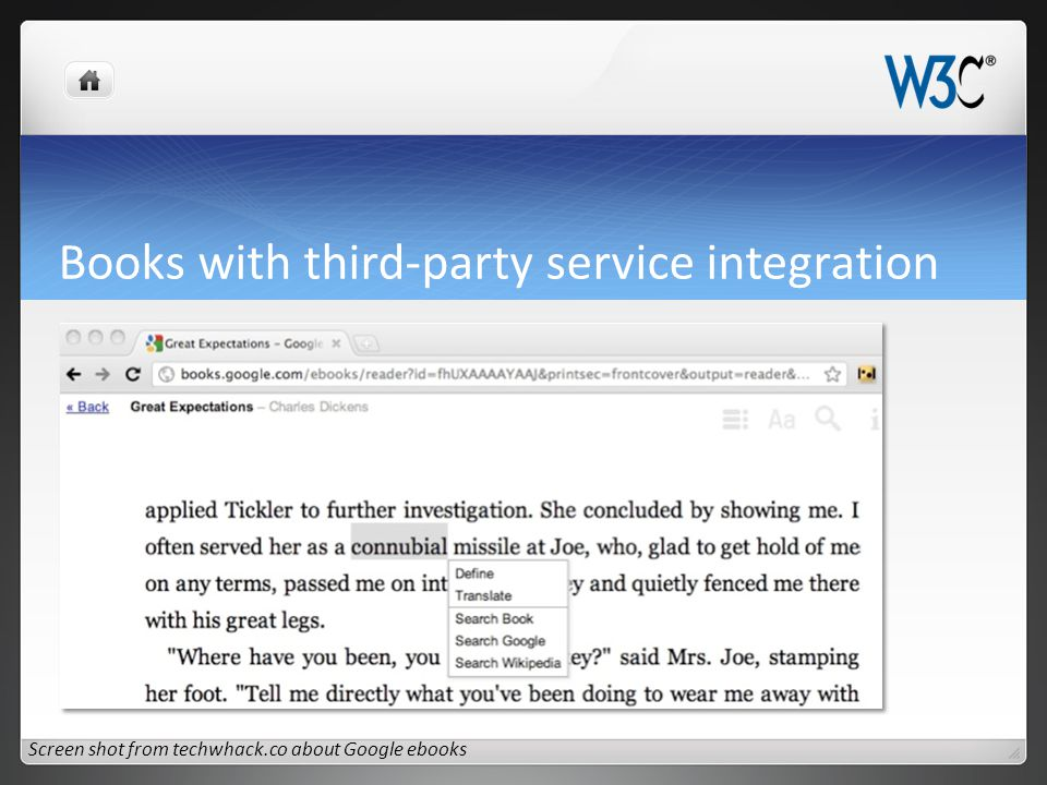 Books with third-party service integration Screen shot from techwhack.co about Google ebooks
