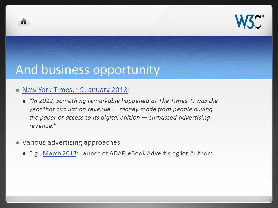 And business opportunity New York Times, 19 January 2013: New York Times, 19 January 2013 In 2012, something remarkable happened at The Times.