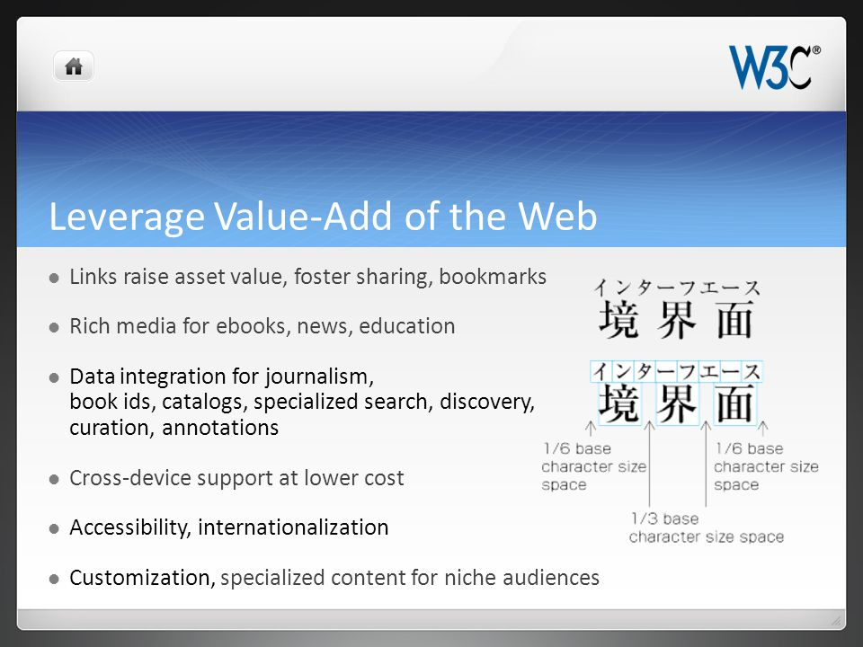 Leverage Value-Add of the Web Links raise asset value, foster sharing, bookmarks Rich media for ebooks, news, education Data integration for journalis