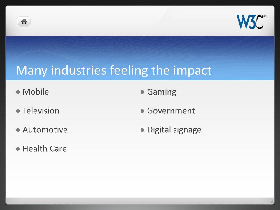 Many industries feeling the impact Mobile Television Automotive Health Care Gaming Government Digital signage