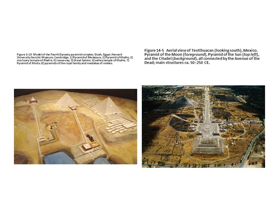 Figure 3-10 Model of the Fourth Dynasty pyramid complex, Gizeh, Egypt. Harvard University Semitic Museum, Cambridge. 1) Pyramid of Menkaure, 2) Pyrami