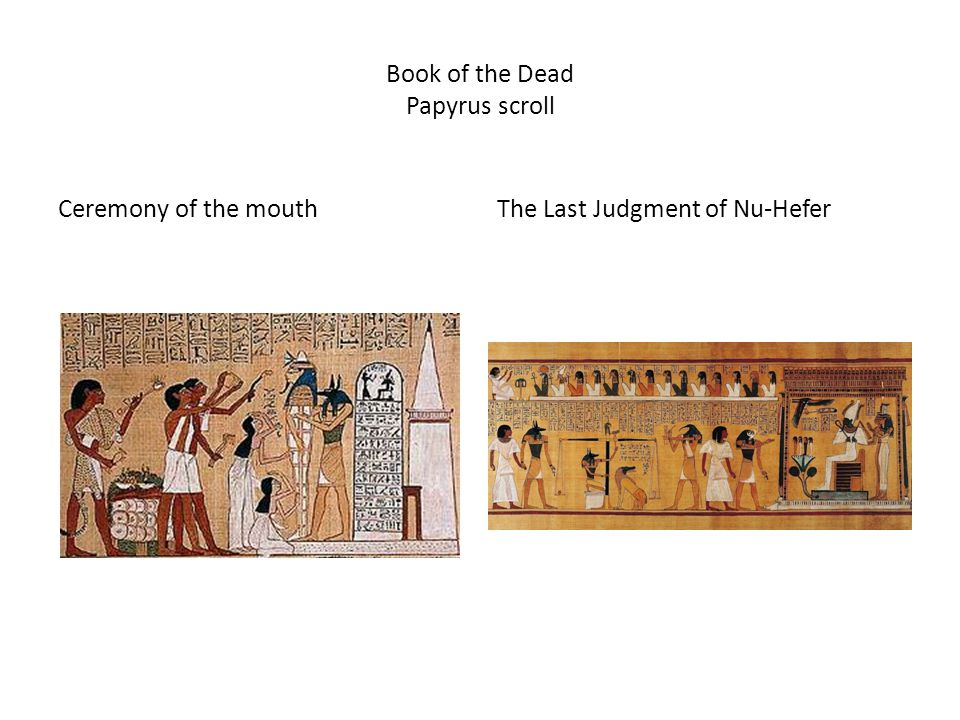 Book of the Dead Papyrus scroll Ceremony of the mouthThe Last Judgment of Nu-Hefer