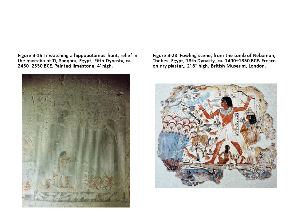 Figure 3-15 Ti watching a hippopotamus hunt, relief in the mastaba of Ti, Saqqara, Egypt, Fifth Dynasty, ca. 2450–2350 BCE. Painted limestone, 4' high