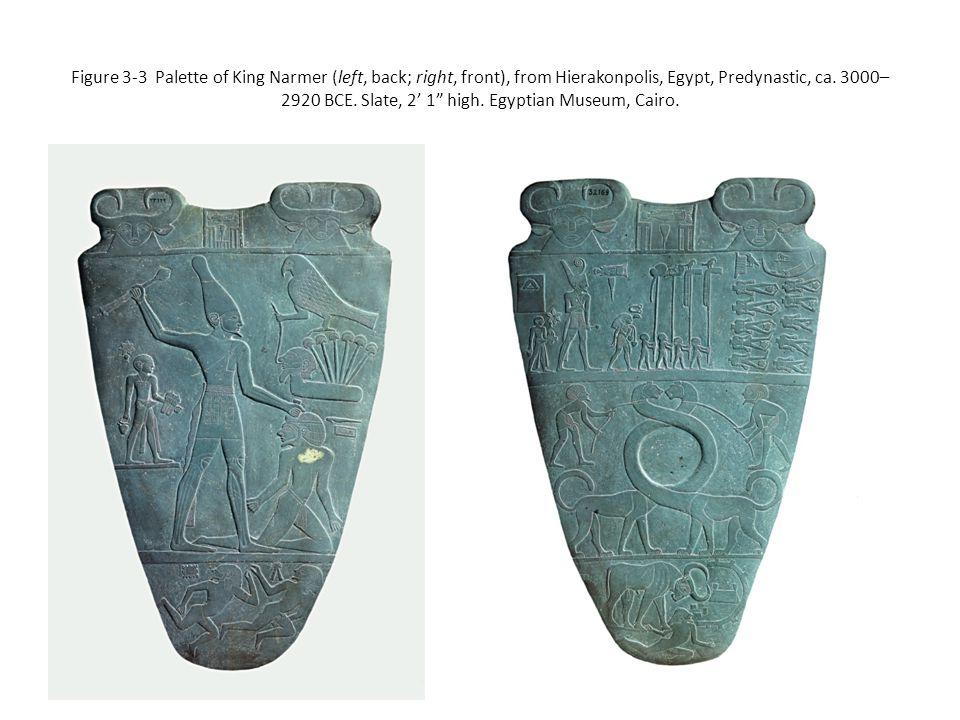"Figure 3-3 Palette of King Narmer (left, back; right, front), from Hierakonpolis, Egypt, Predynastic, ca. 3000– 2920 BCE. Slate, 2' 1"" high. Egyptian"