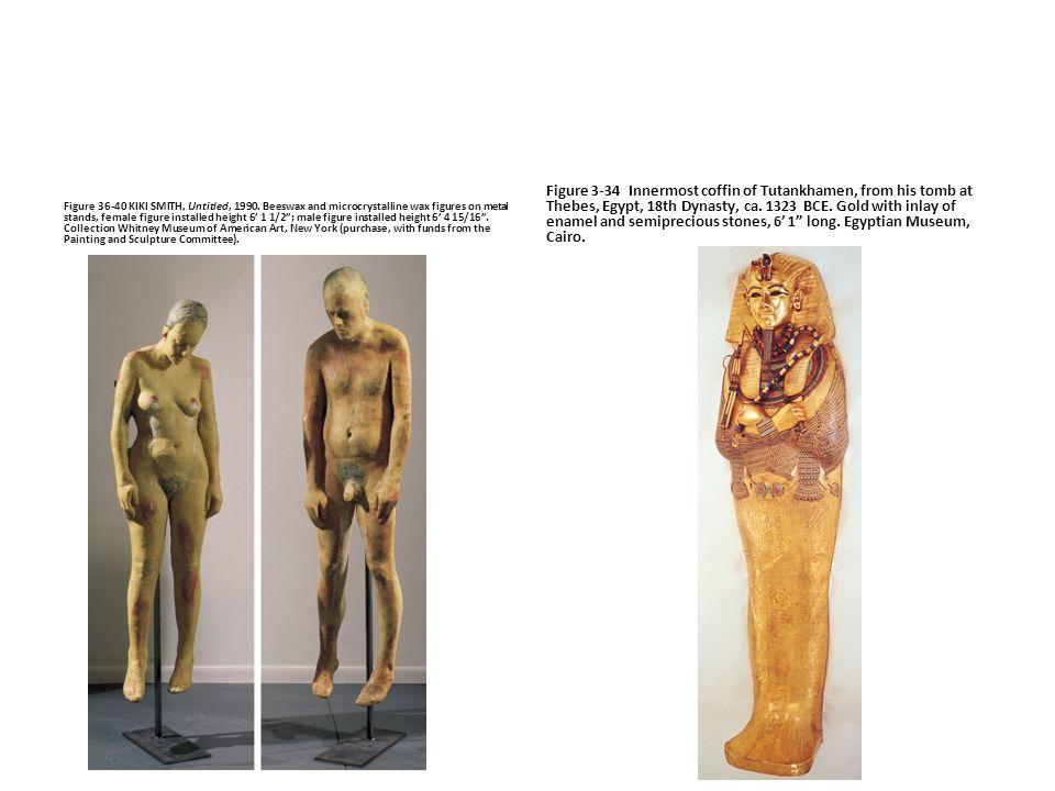"Figure 36-40 KIKI SMITH, Untitled, 1990. Beeswax and microcrystalline wax figures on metal stands, female figure installed height 6' 1 1/2""; male figu"