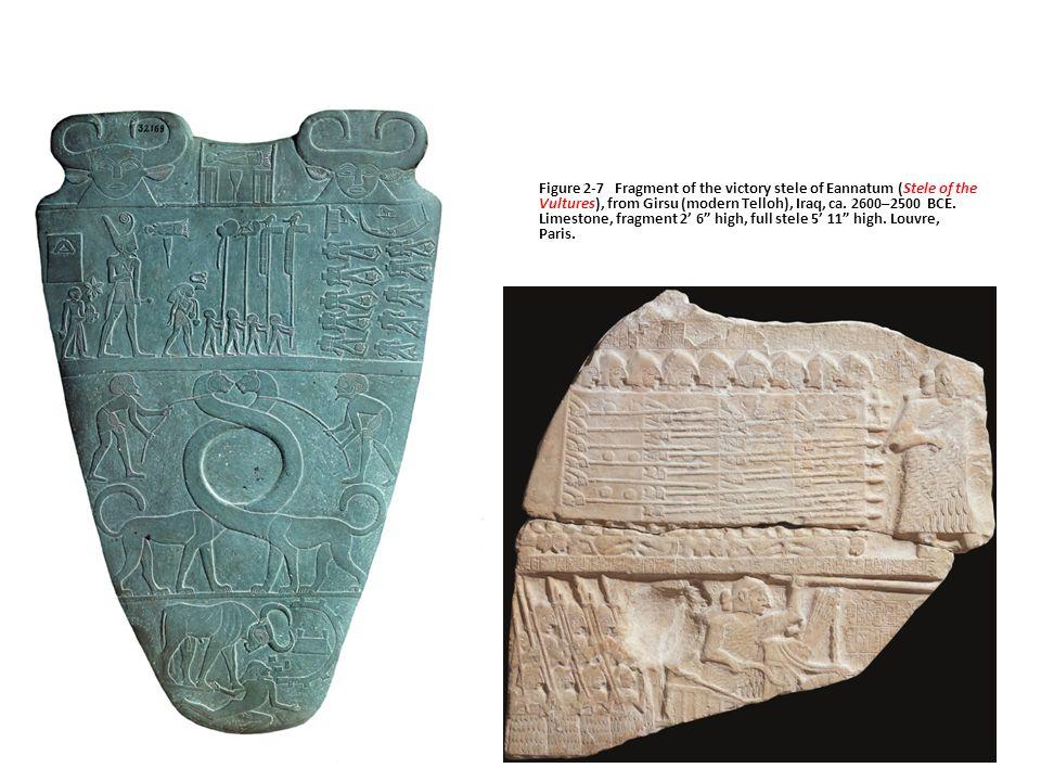 Figure 2-7 Fragment of the victory stele of Eannatum (Stele of the Vultures), from Girsu (modern Telloh), Iraq, ca. 2600–2500 BCE. Limestone, fragment