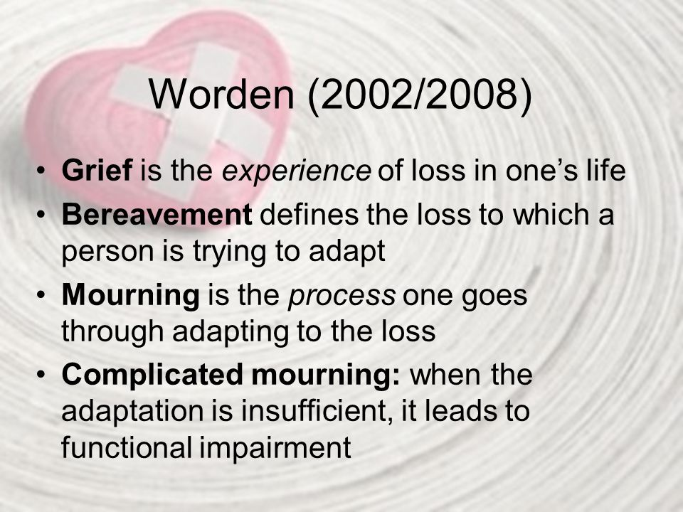 Worden (2002/2008) Grief is the experience of loss in one's life Bereavement defines the loss to which a person is trying to adapt Mourning is the pro