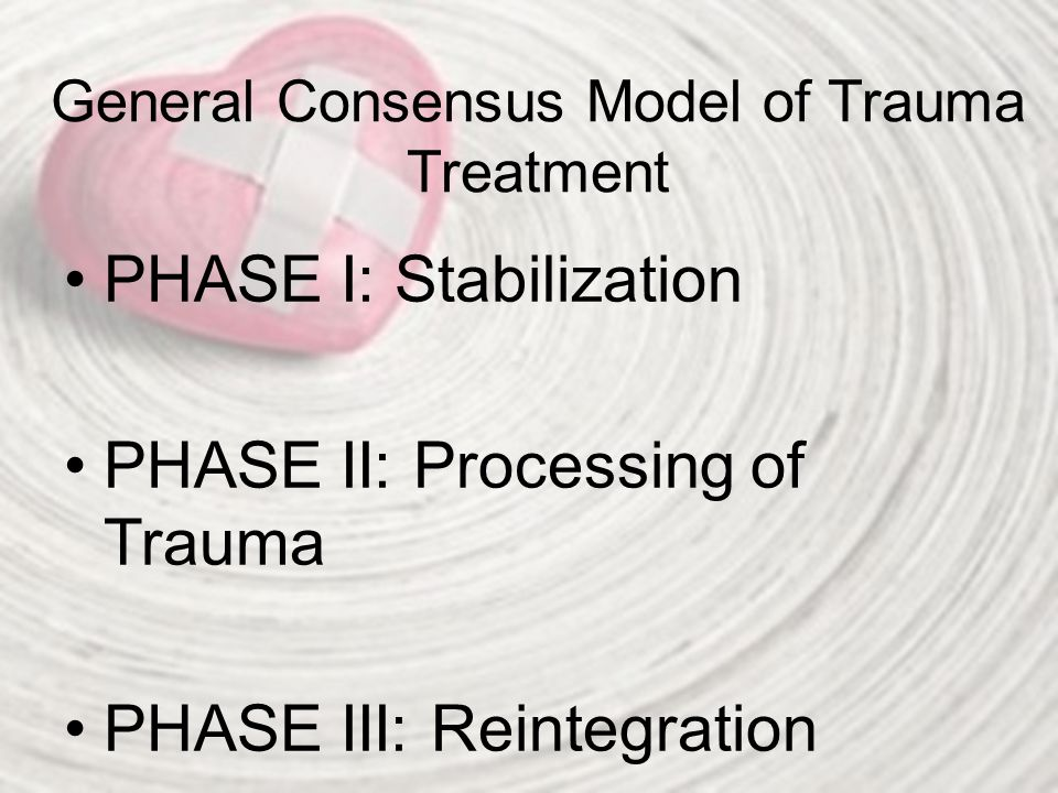General Consensus Model of Trauma Treatment PHASE I: Stabilization PHASE II: Processing of Trauma PHASE III: Reintegration