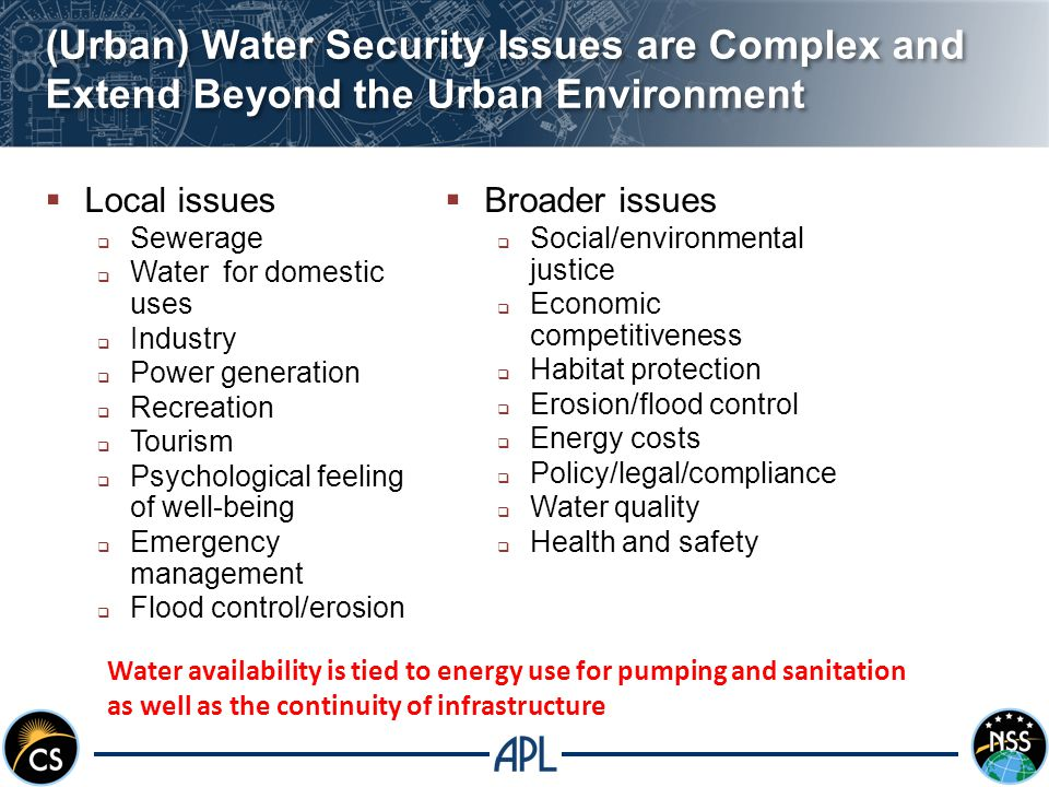 (Urban) Water Security Issues are Complex and Extend Beyond the Urban Environment  Local issues  Sewerage  Water for domestic uses  Industry  Power generation  Recreation  Tourism  Psychological feeling of well-being  Emergency management  Flood control/erosion  Broader issues  Social/environmental justice  Economic competitiveness  Habitat protection  Erosion/flood control  Energy costs  Policy/legal/compliance  Water quality  Health and safety Water availability is tied to energy use for pumping and sanitation as well as the continuity of infrastructure
