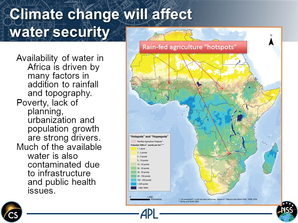 Climate change will affect water security Availability of water in Africa is driven by many factors in addition to rainfall and topography.